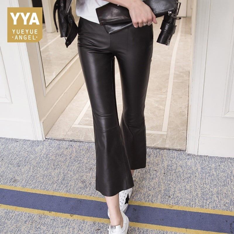 Femmes En Véritable De Maigre Pantalon red Fit Slim Longueur Jambe Black Cuir Femme Taille Mi Cheville Femelle Nouveau 2018 Large Occasionnels IwY4q50