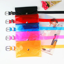 8PCS / LOT Bags for Women Fanny Pack Female Waist Bag Transparent Belt Candy Colors Pouch All Match