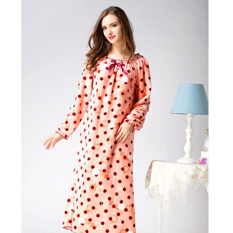 2016 Fashion Spring Cute Women Nightwear Dress Velvet Long Sleeve Flannel Sexy Nightgown Long Nightgown Sleepwear Plus Size