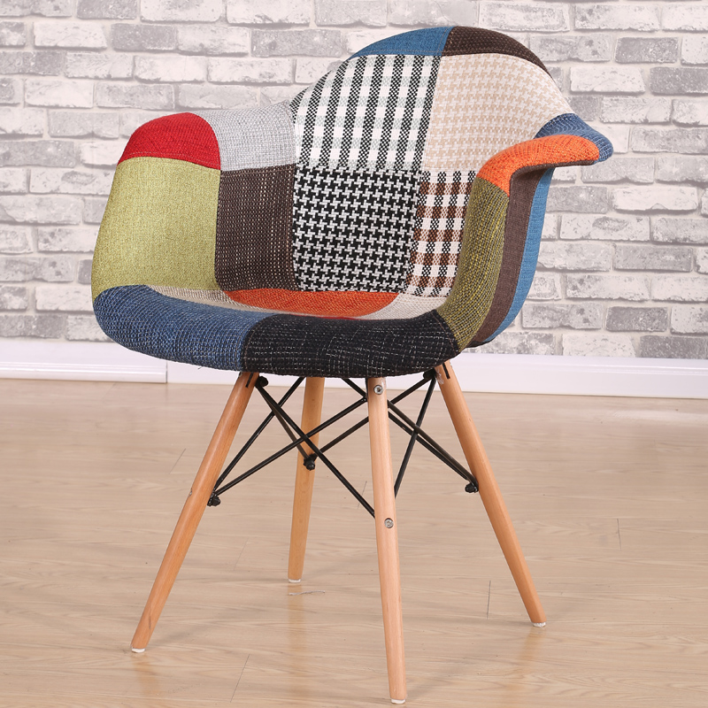 Multi-color Modern Patchwork Upholstered Armchair Dining Chair Wood Leg Dining Room Chair Furniture Eames Style Accent Arm Chair mid century presidential solid oak wood dining chair armchair upholstery seat dining room furniture modern arm chair for home