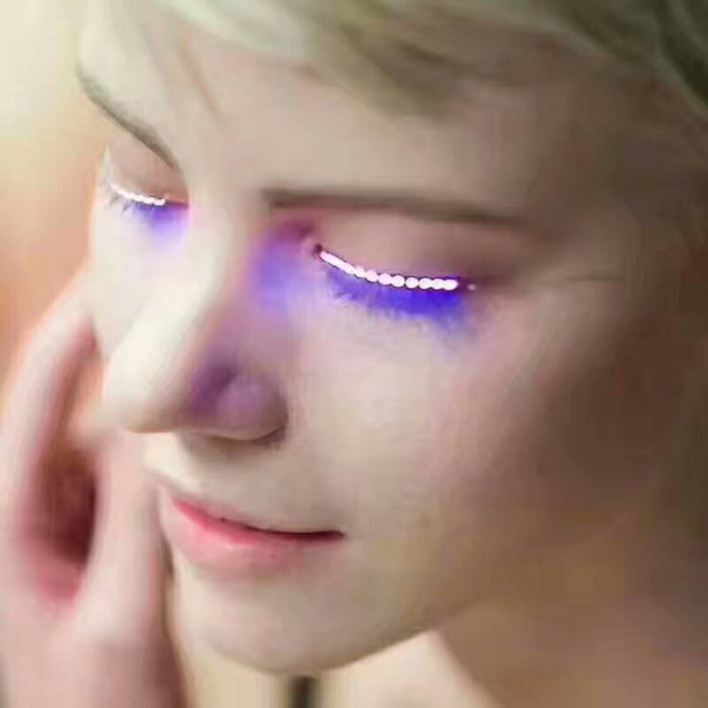1 Pair LED Lashes False Eyelashes Makeup Tool Waterproof Light Fake Eyelashes+ Controller Hair Clips Holiday Party Pub Club Bar