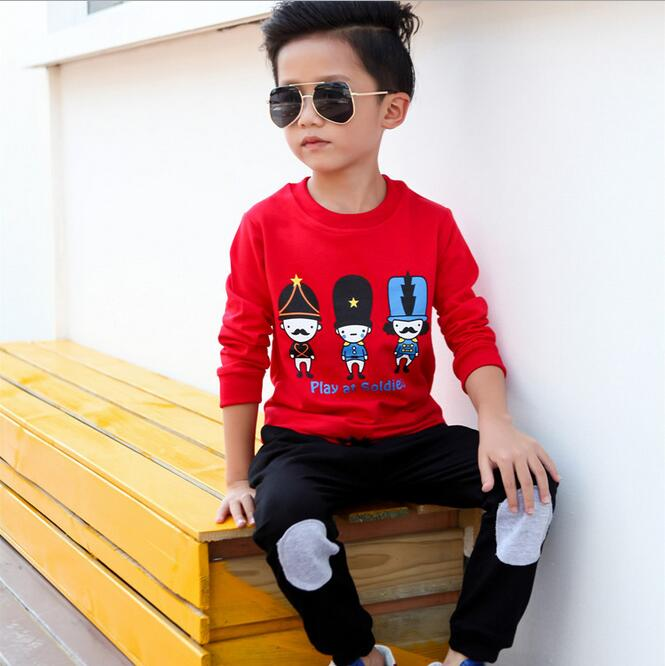 2016 Fashion Tracksuit Kids Two-piece Clothes Suit Baby Boy T-shirt Pants Ropa Ninas Christmas Outfit Set Children Clothing Sets 2015 new arrive super league christmas outfit pajamas for boys kids children suit st 004