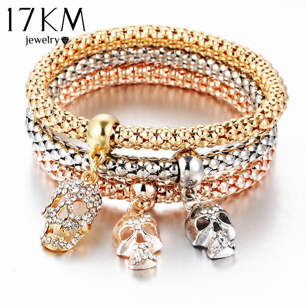 17KM New Fashion Gold Color Crystal Skull Bracelets