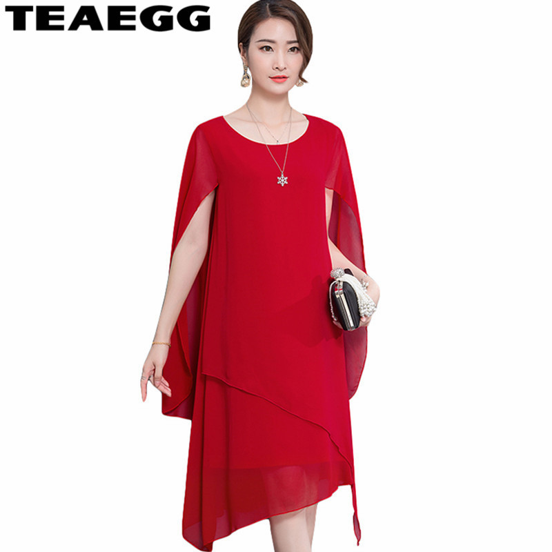 TEAEGG Red Summer Dress 2019 Womens Bohemian Dress Chiffon Ladies Dresses Plus Size 4XL 5XL Elegant Vestidos Sexy Robe AL1014