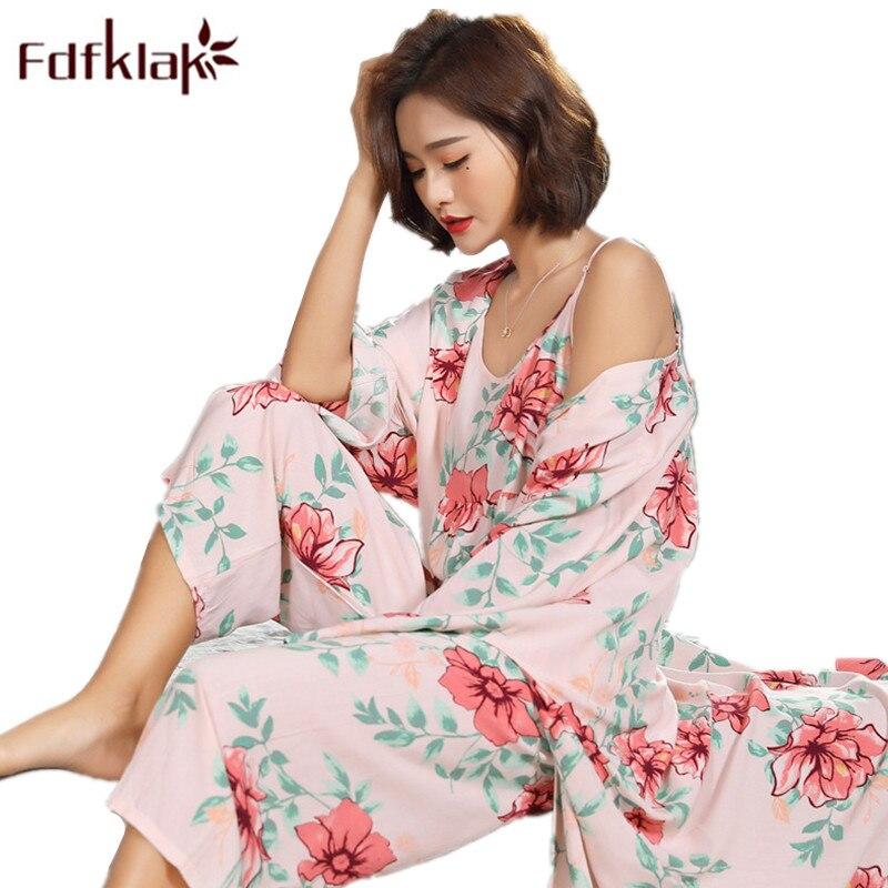Fdfklak Floral Pijama Sexy Nightwear Spring Summer New   Pajamas   For Women Pyjama Femme Cotton 3 Pcs   Pajama     Set   Night Suit Q1174