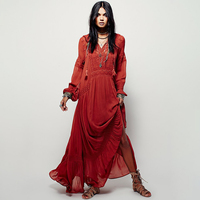Ethnic Embroidery Elegant Long Dress 2018 Women Casual Long Sleeve V neck Sexy Dresses Ladies White Boho Hippie Beach Maxi Dress