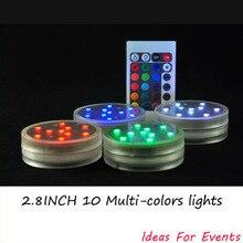 12 pieces 2.8inch 10 LEDs RGB Color Remote Control Submersible Led Light Vases Base Light as Wedding Centerpieces Party Decor