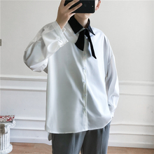 Spring New Dress Shirt Men'fashion Solid Color Business Casual Shirt Man Streetwear Trend Wild Loose Long-sleeved Shirt S-2XL