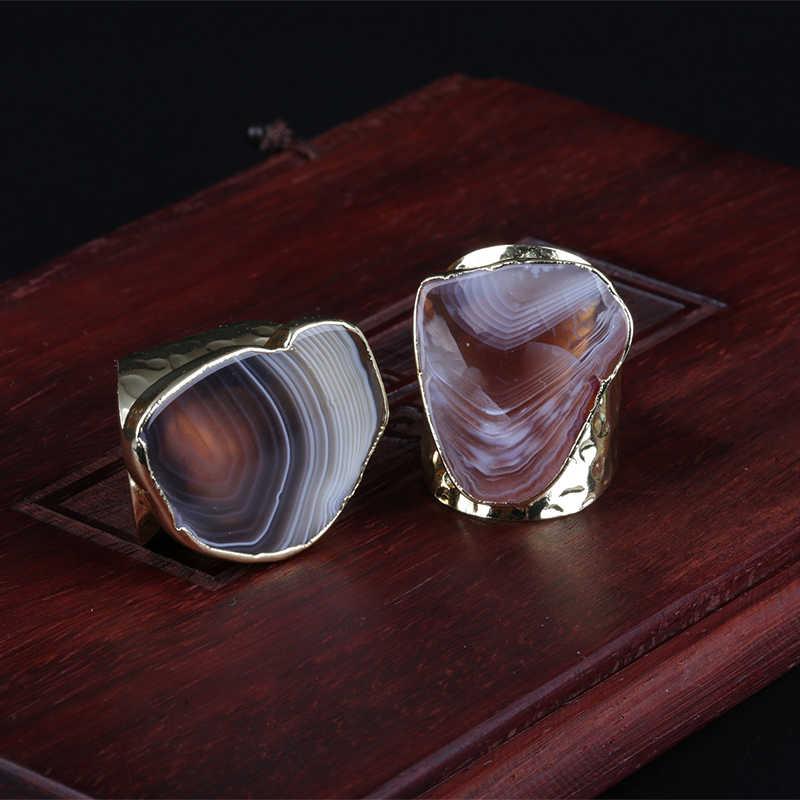 ธรรมชาติ clound รูปแบบสีน้ำตาลสีเทาหินนิล slice ลูกปัด charm wrap ปรับขนาดได้กว้าง gold เปิดแหวนค้อนทุบ cuff สำหรับผู้หญิง man