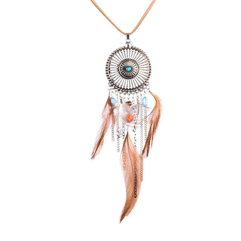 Ethnic Long Feather Necklace Women Boho Rope Chain Necklaces Pendant Vintage Bohemian Jewelry Accessories Bijoux Femme