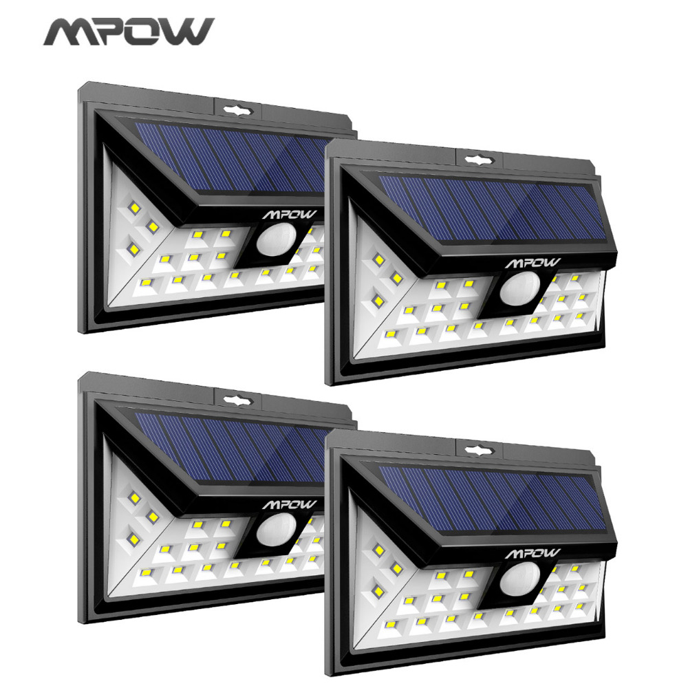 Mpow 24 LED solar lighting 4 pcs IP65 Wide Angle Security ...