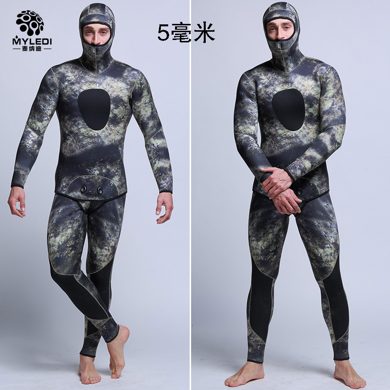 5mm Neoprene Spearfishing Suit Wetsuit Men Fishing Suit Diving Suit Camouflage With Diving Vest Open Cell Hood Two Piece Wetsuit