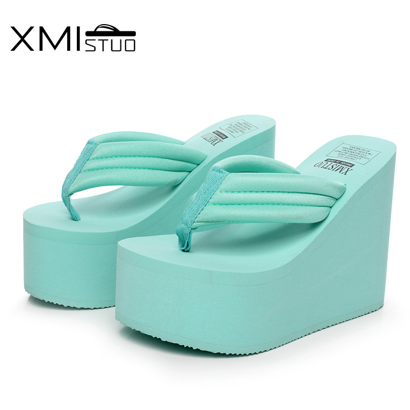 aeb2ba198ad XMISTUO Women Flip Flops Female Summer Beach Wedges Flip Flop Super 12cm  High heeled with Platform Slippers 4 Color 7035-in Slippers from Shoes on  ...