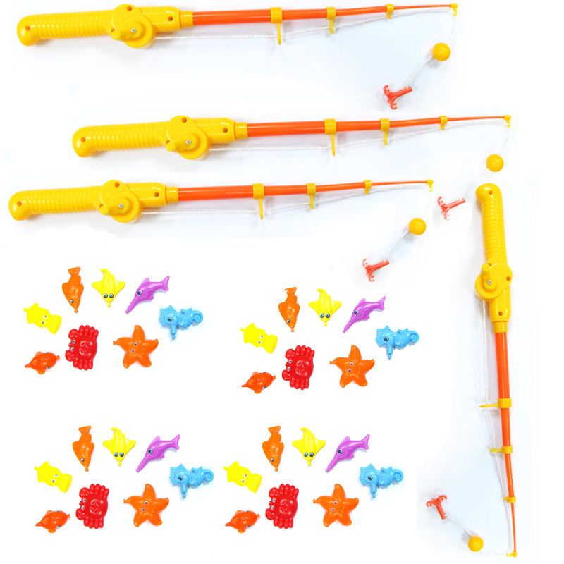 Children fishing rod toy 4 rod 32 marine animals fish for Fishing rod for kids