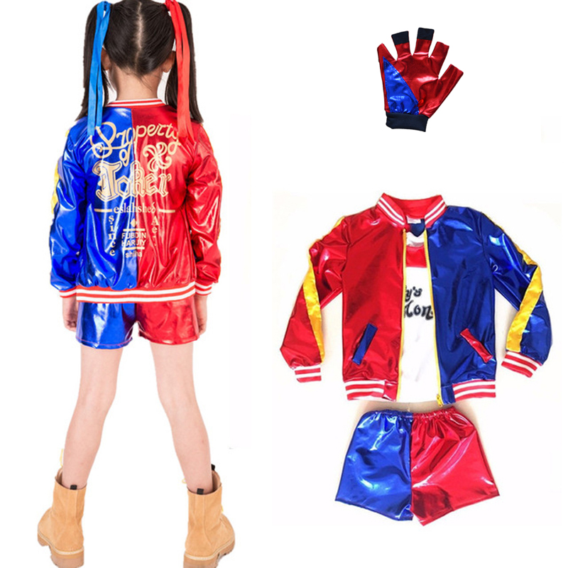 Free shipping New Kids Suicide Squad Cosplay Harley Quinn  Costumes Girls Purim Coats Jacket Chamarras De Batman Para Mujer Suit