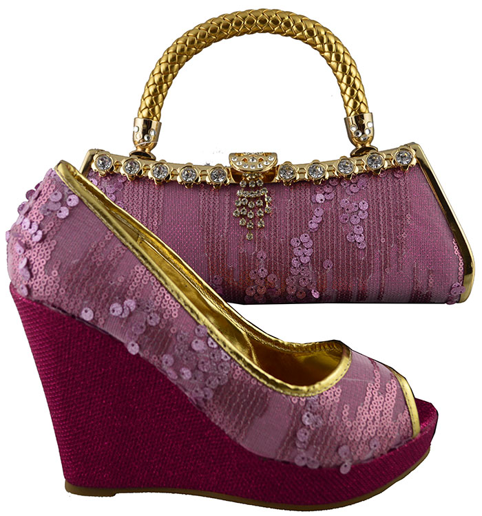 ФОТО New Arrival Shoes and Bag Set Decorated with Bead Wedding Shoes and Bag High Heels Italian Matching Shoes and Bag Set