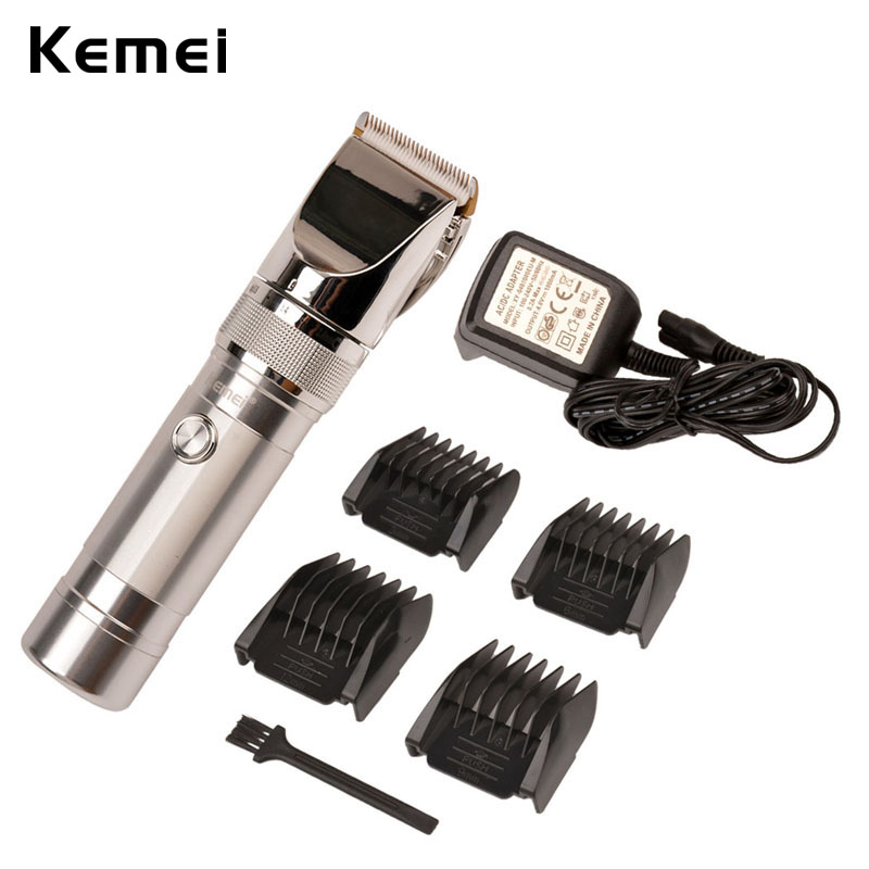 Kemei KM-9801 Ceramic Cutter Rechargeable Electric Hair Clipper Trimmer Razor Cordless Adjustable Clipper Haircut Machine S42 kemei km 1027 professional adjustable 4 in 1 electric hair clipper haircut trimmer maquina with combs ac220 240v for men