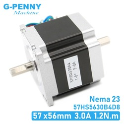 Nema23 dwuwałowy silnik krokowy cnc 57x56 NEMA 23 silnik krokowy D = 8mm 3A 1.26N. m silnik krokowy z podwójnym wałem 180 uncji