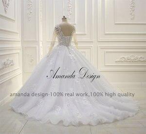 Image 5 - Robe de mariée arabe, robe de mariée luxueuse, robe de bal, manches longues, perlée, 2019