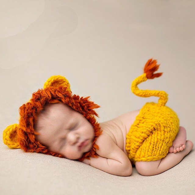 New infant baby newborn photography props baby hat girl lovely lion newborn baby photography props fotografia