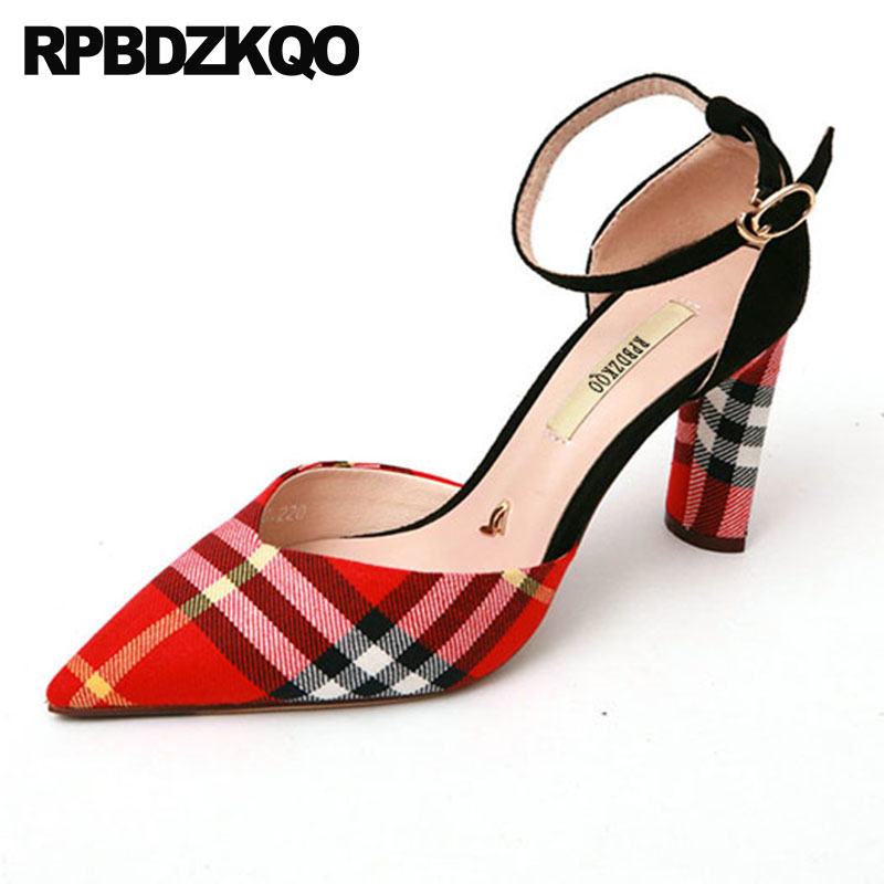 Pumps Famous High Heels 3 Inch Ankle Strap Red 2018 Thick Size 4 34 Shoes Brand Designer Women Luxury Pointed Toe Gingham Plaid