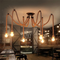 Smuxi Vintage Retro Industrial Spider Loft Hemp Rope Lights 4 6 8 10 12 Heads Ceiling Lights For Dining Room Bar