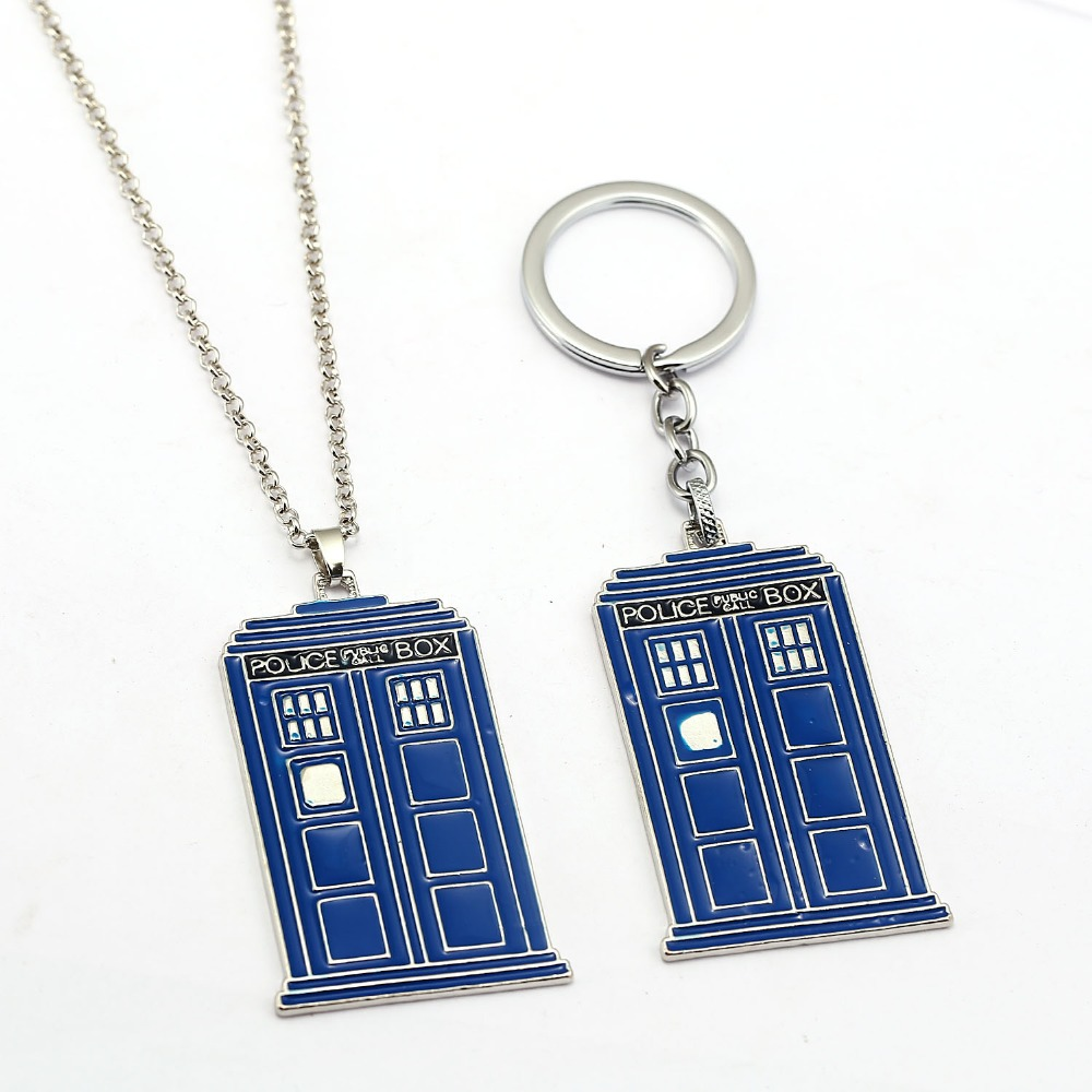 HSIC New 2017 Punk Fashion Doctor Who Necklace Tardis Police Box Vintage Blue and Silver Pendant Necklaces For Women Men HC12258