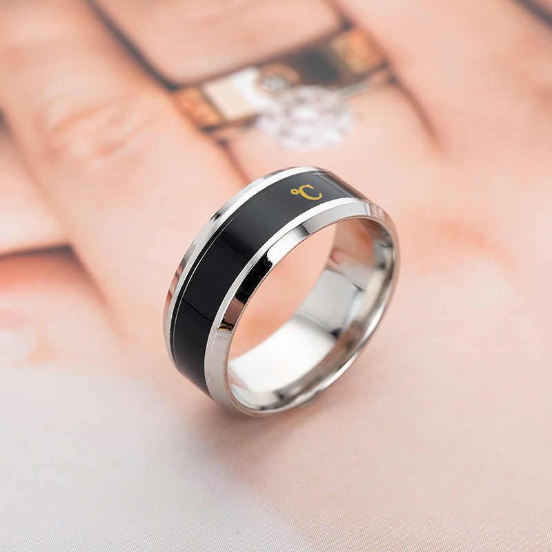 Anel de temperatura titanium aço humor emoção sentimento inteligente temperatura sensível anéis para mulher masculino jóias à prova dwaterproof água