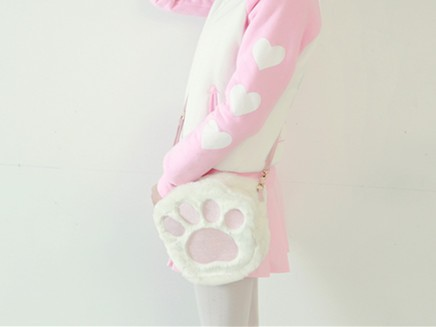 New Arrival Lovely Pink Shoulder Bag Tote Bag With Embroidered Kitten Cat Pads Fluffy Pads For
