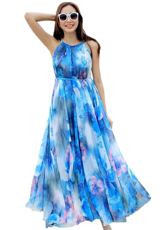 6b85c158da Nueva llegada Bohemia gasa de una sola pieza del resorte y vestido de  verano Vestido de playa femenina más tamaño de impresión del vestido lleno