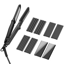 Multifunctional 4 in 1 Fast Ceramic Hair Flat Straightener Curling Curler Corn Corrugated Iron Waver Curly with Glove