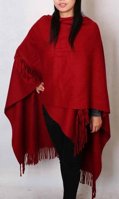 Hot New Borgonha das Mulheres 100% Lã Lã Estilo Chinês Capa Tippet Silenciador Cor Sólida Borlas Envoltório Oversize 180*72 cm