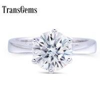 Transgems 2 Carat CT 8 мм Обручение Свадебные Муассанит кольцо искусственный бриллиант кольцо для Для женщин в 925 пробы серебро для Для женщин