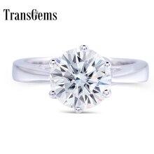 Transgems 2 Carat ct 8mm Engagement Hochzeit Moissanite Ring Lab Grown Diamant Ring Für Frauen in in 925 Sterling silber Für Frauen