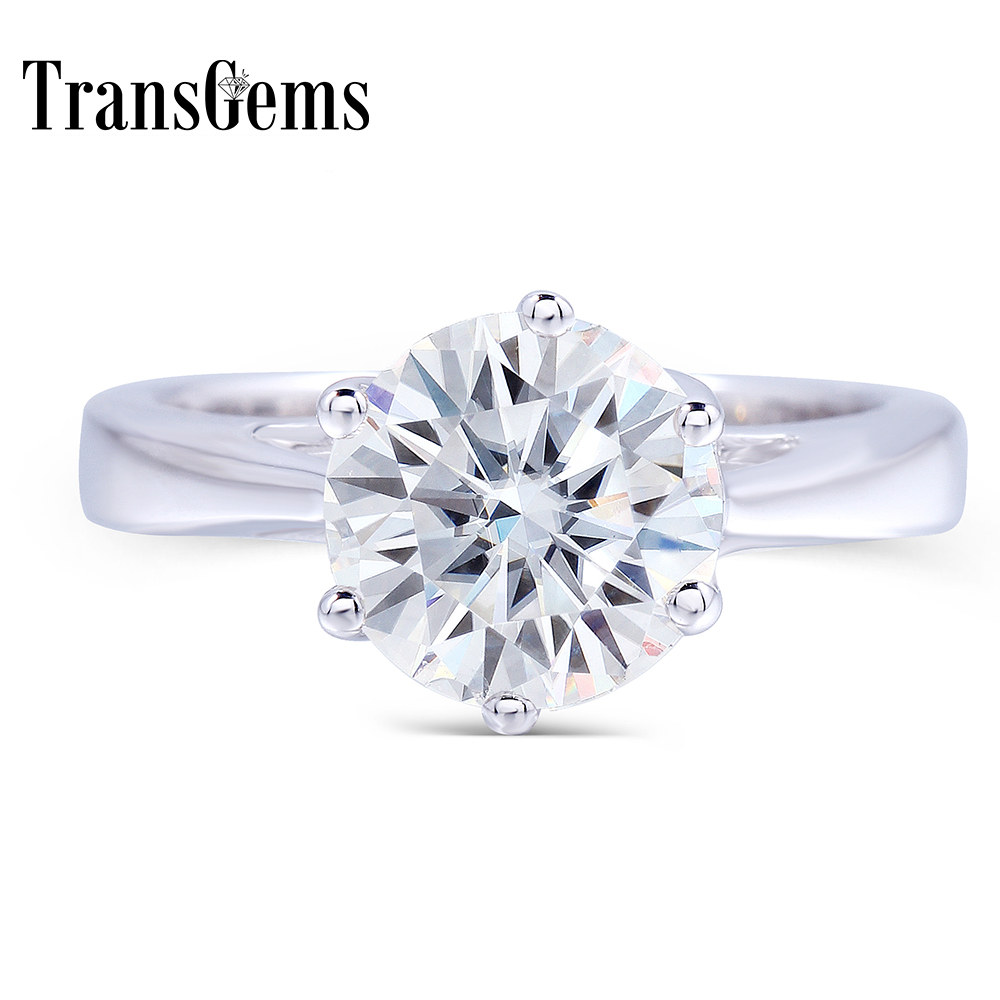 Transgems 2 Carat ct 8mm Engagement Wedding Moissanite Ring Lab Grown Diamond Ring For Women in in 925 Sterling Silver For Women transgems 1ct carat lab grown moissanite diamond jewelry wedding anniversary band solid white gold engagement ring for women