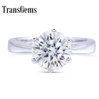 Transgems 2 Carat ct 8mm Engagement Wedding Moissanite Ring Lab Grown Diamond Ring For Women in in 925 Sterling Silver For Women