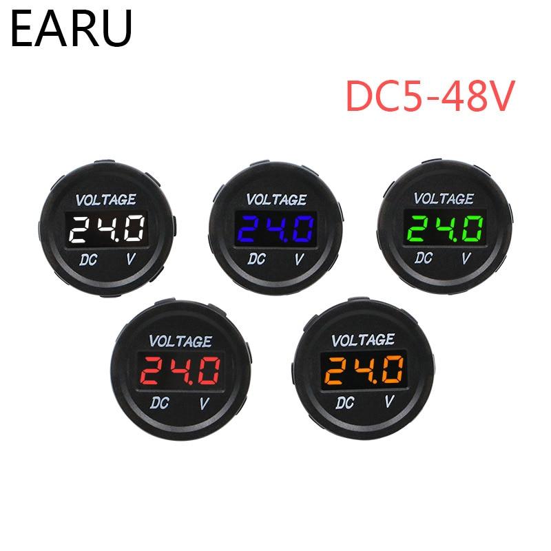DC5V-48V Digital Voltmeter Round Waterproof Boat Car Styling Motorcycle LED Panel Volt Voltage Meter Tester Monitor Display
