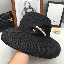 Spring and summer day M new seaside resort pearl big travel folding British sunscreen Hepburn along the beach hat sun hat
