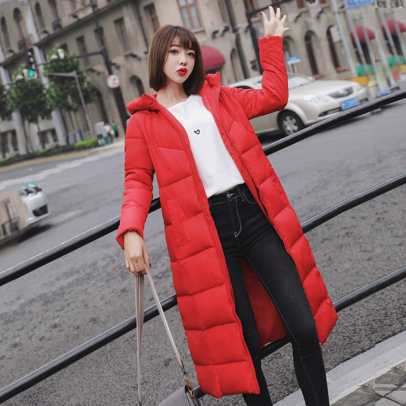 2019 New Women's Winter Parkas In The Long Section Slim Large Size  Cotton Coat  Hooded Windproof  Elegant Fashion Parkas QQ380(China)