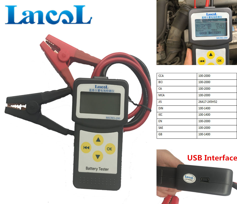 LANCOL MICRO-200 Automotive Battery Digital CCA Battery Analyzer Car Battery Tester 12V Diagnostic Tool With USB For Printing