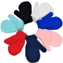 Zimowe ciepłe Unisex solidne dziecięce rękawiczki dla 1-4T dziecięce rękawiczki białe dzianinowe rękawiczki dla dziewczynek chłopcy dziecięce rękawiczki 7Cols tanie tanio Stałe Nadgarstek Moda Akrylowe Elastan JK01 Red Black White Blue Boy s Girls s
