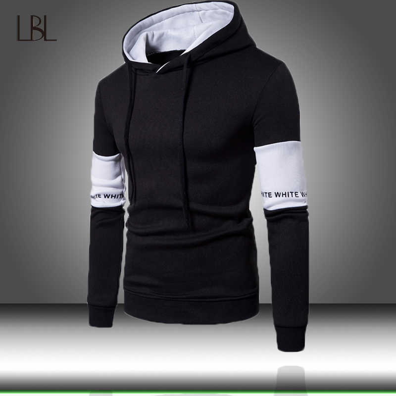 78040634611 2019 Streetwear Patchwork Hip Hop Hooded Sweatshirts Autumn Solid ...