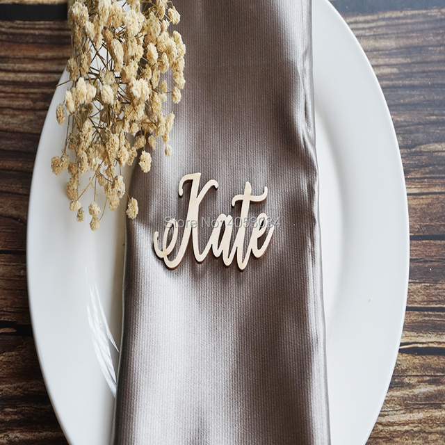 Wooden Laser Cut Names Wedding Place Cards Name Settings Tags For Rustic