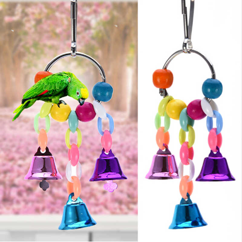 Parrot Toys With Colorful Beads Bell Chain Pet Bird Parrot Chew Bite Toy Bird Cage Accessories Suspension Hanging Bridge Chain