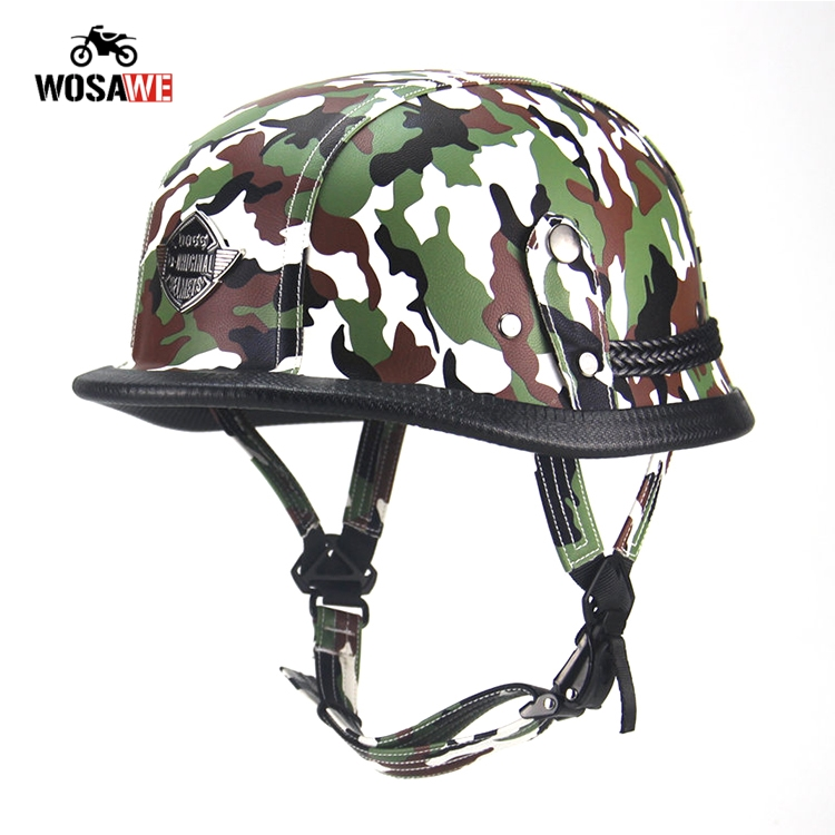 Image 2 - Motorcycle Half Helmet Bicycle Helmet ABS Leather Camouflage Safety Hard Hat Moto retro Helmet for Motocross Military Tactical-in Helmets from Automobiles & Motorcycles