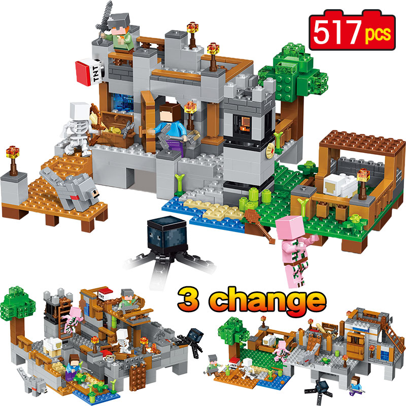 My World Model Building Blocks Bricks Compatible Legoingly Minecraft Harbor Wharf Zombie Mini Sets Figures Toys Christmas Gift minecraft 4 in 1 building blocks minecraft figures dragons toys steve zombie alex witch zombie skeleton compatible blocks e