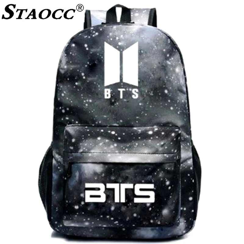 531864264fa Space Luminous BTS Backpack Student School Bag For Teenage Girls Boys  Laptop Back pack Anti theft Travel Bagpack Mochila Brand