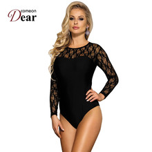 Comeondear Sexy Body For Woman Long Sleeve Teddy Lace Bodysuit Black Overalls Bo