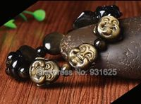 Beautiful Natural Gold Obsidian Handmade Carved Small Larghing Buddha Head Lucky Stretch Elastic Bracelet Fashion Jewelry