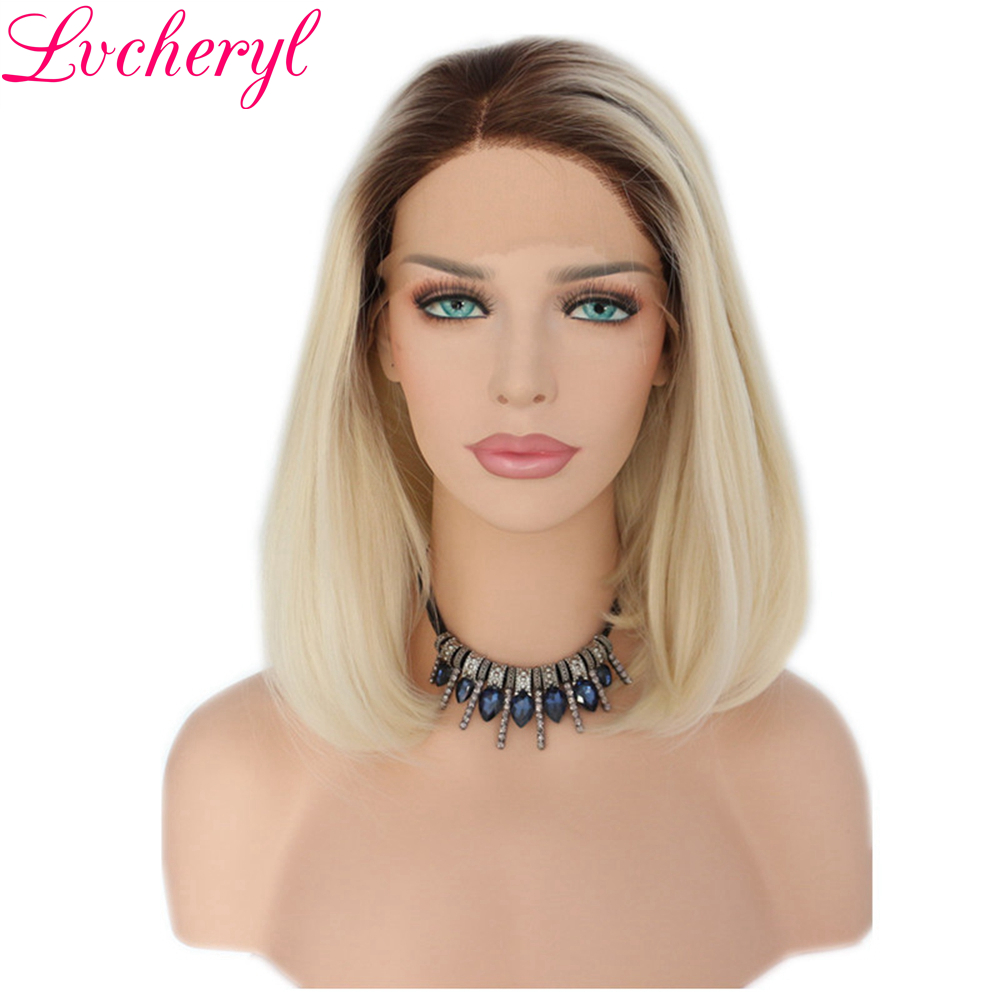 Lvcheryl Ombre Brown Roots To Blonde Short Bob High Temperature Fiber Hand Tied Heat Resistant Synthetic Hair Lace Front Wigs